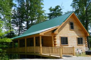 log cabin with wheelchair ramp in Hocking Hills
