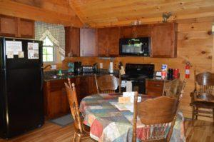 kitchen in Escape log cabin