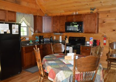 kitchen in Escape log cabin
