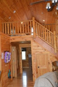 loft of Escape log cabin rental