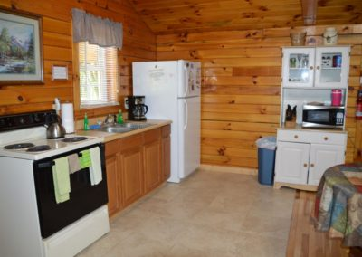 kitchen in The Overlook log cabin