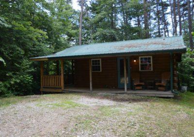 exterior of The Lakota log cabin rental in Hocking Hills