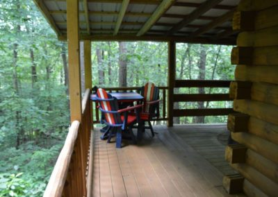 deck on The Lakota log cabin in Hocking Hills