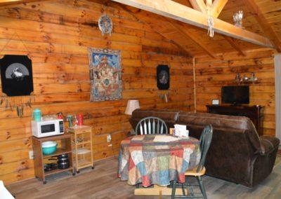 living area in The Lakota log cabin rental in Hocking Hills