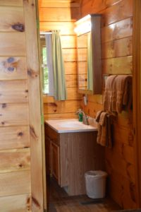 rustic bathroom in Trail Ridge cabin