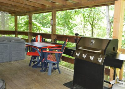 deck with gas grill at Silverwolf log cabin