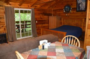 living area in Silverwolf log cabin rental
