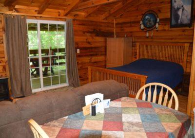 living area in Silverwolf log cabin rental