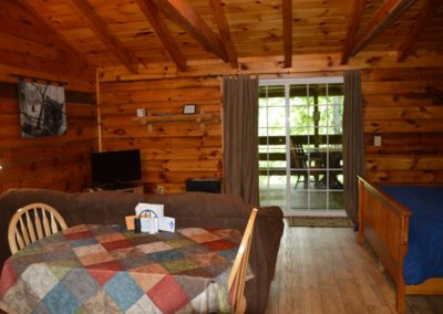 interior of Silverwolf log cabin rental