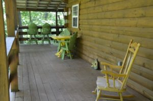 deck at Yesteryear log cabin