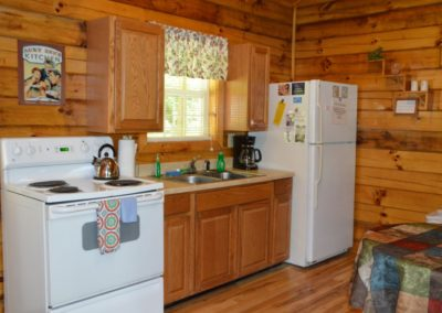 kitchen in Yesteryear log cabin