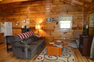 entertainment area in Yesteryear log cabin