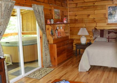 living area in Yesteryear log cabin