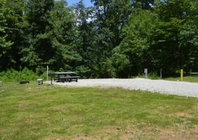picnic table at RV campsite at High Rock Hideaways