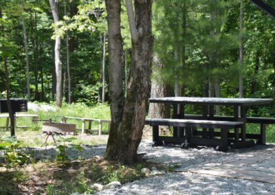 RV campsite picnic area at High Rock Hideaways in Hocking Hills